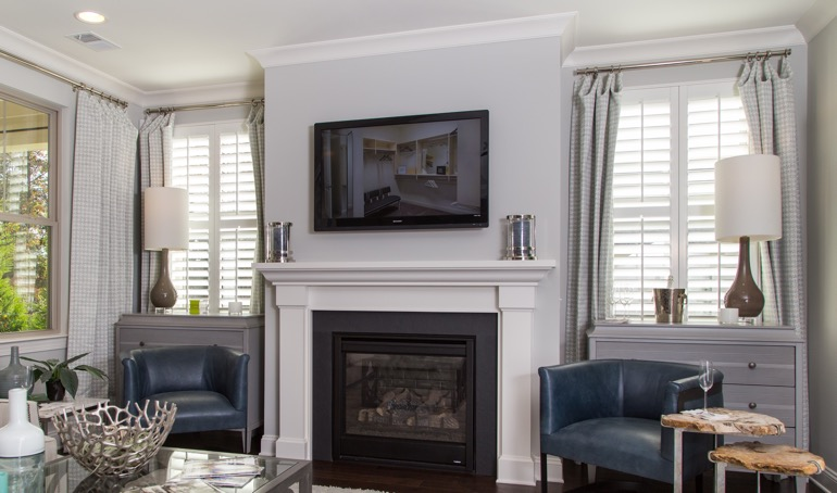 Cincinnati fireplace with plantation shutters.